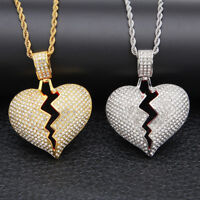 """Iced Out Broken Heart Pendant 24"""" Stainless Steel Rope Chain Necklace Valentine"""