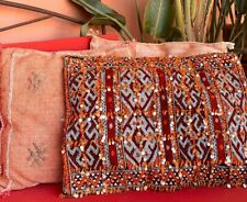 BIG Berber Kelim Pillow Maroc Diamonds Rouge with Sequins Geometric Pattern Gift