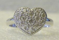 Heart Ring Sz 9 Sterling Silver Clear Cubic Zirconia