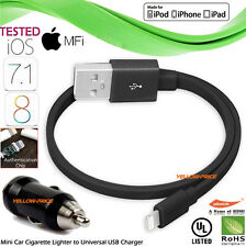 1.5FT iPhone 5S 6S iPad iPod MFi-Certified Flat Lightning USB Cable+Car Charger
