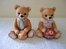 """Vintage Homco # 1405 Set Of 2 Sitting Bears """" Great Collectible Set """""""