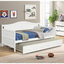 White Daybed with Trundle Bedroom Furniture Platform Bed Frame for Kids Room