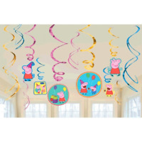 Peppa Pig Birthday Party Swirl Decorations - 12 pieces