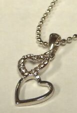 Crystal Charm on Silver Necklace Small Interlocking Hearts Silver &