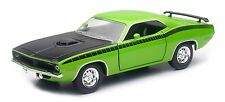 NEW RAY 1970 PLYMOUTH CUDA HARD TOP 1/24 DIECAST CAR GREEN NEW 71873A