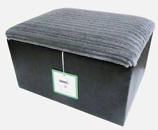 Large Beautiful Jumbo Cord Fabric Storage Box Pouffe Footstool In Black and Grey