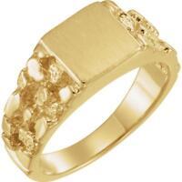 14K Yellow Gold 9MM Men's Nugget Signet Ring Size 10