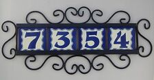 4 BLUE Mexican Ceramic Number Tiles & Horizontal Iron Frame