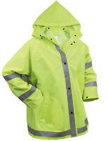 Mens Reflective Safety Jacket Rain Coat Hooded Hoodie Green Rothco 3654