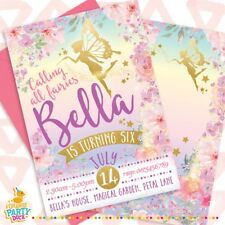 5 X Personalised FAIRY Pink Gold Birthday Party Invitation Invites Stationary