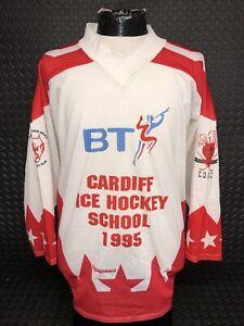 Cardiff Devils Vintage 1995 Schools Ice Hockey Jersey Medium Good Condition RARE