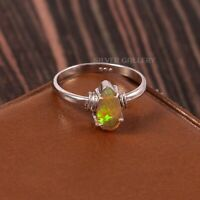 Natural Ethiopian Opal Solid 925 Sterling Silver Handmade Ring Size - 7.5 R-551