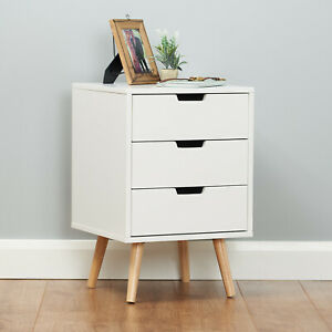 Roost Bedside Table Cabinet 3 Drawer White Bedroom Nightstand Retro Furniture