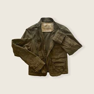Abercrombie & Fitch Olive Cotton Women's Collared Pocket Jacket Size M Used