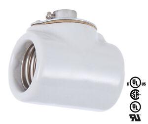 Two Sided ~ PORCELAIN ~ E26 ~ Light Socket ~ High Heat ~ Double Lamp Bulb Holder