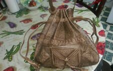 Moroccan Tribal Dark Brown Embossed Leather Bag Hobo Handbag