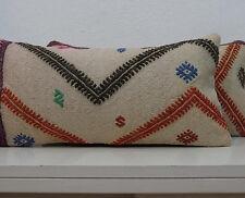 10''x20'' Vintage Woven Kilim Lumbar Pillow Cover Handmade Pillow Pair Pillows