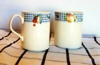 Stoneware coffee mugs set of 2 country gingham blue check fruit design by EPOCH