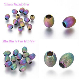 10PcsStainless Steel Oval Textured Beads Spacers forJewelry Making Accessories