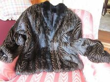 Fillet Opossum Fur Jacket Women's  Coat Furs By Guarino  Med/Large~Brown & Black