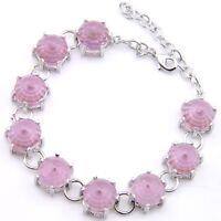 New Arrival Wedding Gift Rose Quartz Gemstone Silver Woman Chain Bracelet 8 Inch