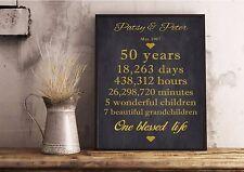 Personalised Golden Wedding Anniversary Gift 50th Parent Grandparent Print