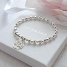 Sterling silver tree of life beaded charm bracelet gemstone stacking jewellery