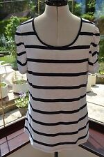 MONSOON SIZE 14 WHITE & NAVY STRIPED COTTON SUMMER TOP