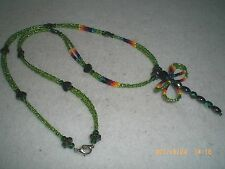 Beaded Native American Sioux Necklace Dragonfly, Green