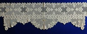 """Lace Mantel Scarf 92"""" x 20"""" Ivory with Gold Metallic Crosses Livingroom Piano"""