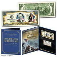 United States ARMY WWII Vintage Genuine U.S. $2 Bill in Large Collectors Display