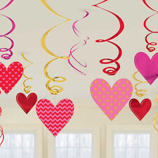 12 Valentines Day Party Pink Red Heart Value Pack Hanging Swirl Decoration