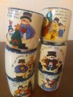 6 Small Christmas Candle Crocks