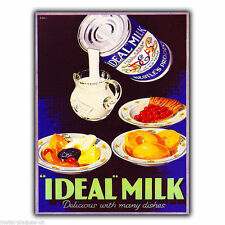 METAL SIGN WALL PLAQUE IDEAL MILK Retro Vintage poster Advert Print 1910