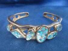 Whitney Kelly Sterling Silver .925 Mosaic Fire Opal Cuff Bracelet