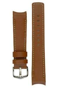 Hirsch MEDICI HEAVY CALF UPPER Curved Ended Watch Strap GOLD BROWN & WHITE 18mm