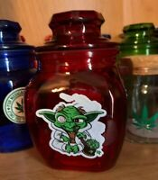 Yoda Red Glass Stash Jar Apothecary Prescription Weed Smell Proof- Medical