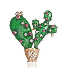 Vintage Cactus Plant Flower Pot Enamel Crystal Clothing Brooch Pin Gift Bag