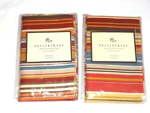 Pottery Barn Two (2) Camille Stripe Standard Shams New 100% Cotton Portugal