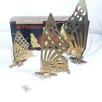 3 Butterflies Metal Wall Hanging Gold Tone Hollywood Regency