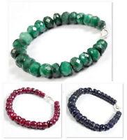"Hand Made Ruby Emerald Sapphire Round Checker Cut Beaded Silver Bracelet~7.5"""