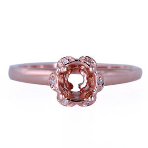 Sparkles Diamond Semi-mount Engagement Ring Round 5mm-6mm Solid 14K Rose Gold
