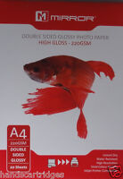 Mirror A4 220gsm Double Sided Gloss / Glossy Photo Paper (20, 40, 100 Sheets)