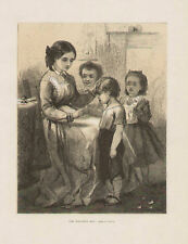 Child Children Mother Naughty Boy Scolded Antique Print