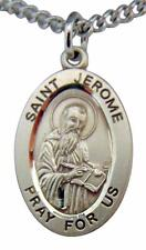 "Saint Jerome Oval Sterling Silver 7/8"" Medal w/ 20"" Chain Boxed Made in USA"