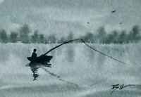 ACEO ATC original art miniature painting ' Fishing from a Boat ' by Bill Lupton