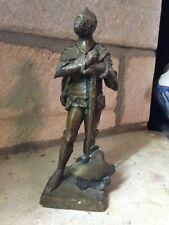 Vers 1880 XIXe Chevalier en bronze statue statuette sculpture signée FM