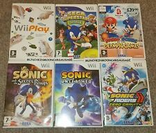 6 Games for PAL Nintendo Wii & U FREE UK SIGNED P&P Sonic Mario Play Olympics