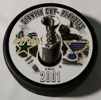 2001 STANLEY CUP PLAYOFFS NHL STARS VS BLUES OFFICIAL HOCKEY PUCK