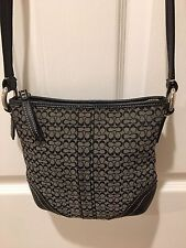 Coach Signature Black / Gray Jacquard Leather Cross Body Purse / Handbag